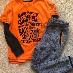 Boys Halloween T-shirt and sweatpants- size 6/7